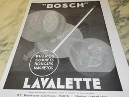 ANCIENNE   PUBLICITE SPHARE BOUGIE  LAVALETTE  BOSCH 1930 - Other