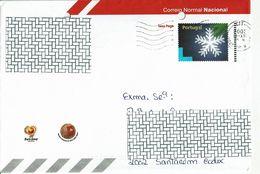 Portugal , 2003 , Stationery Envelope , Entier , Snowflake , Flocon De Neige , Used , Holed - Postal Stationery