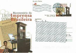 Portugal , 2008 , Stationery , Entier , Bicentenario Imprensa Brasileira , Brazilian Press - Postal Stationery