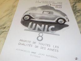 ANCIENNE PUBLICITE LA DERNIERE NEE VOITURE UNIC 8  1930 - Voitures