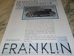 ANCIENNE PUBLICITE  LA VOITURE DU CONNAISSEUR  FRANKLIN  1930 - Voitures