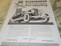 ANCIENNE PUBLICITE  FREE WHEELING AUTOMOBILES STUDEBAKER 1930 - Voitures