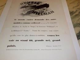 ANCIENNE  PUBLICITE VOITURE HUMBER HILLMAN 1930 - Voitures