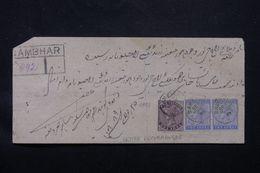 INDE - Lettre En Recommandé De Sambhar En 1889, Affranchissement Victoria, Cachet De Abu Au Dos  - L 65989 - 1882-1901 Empire