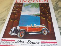 ANCIENNE PUBLICITE VOITURE DE LUXE  LINCOLN  1930 - Voitures