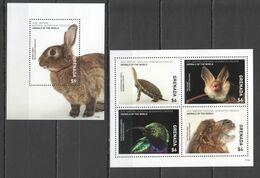 VV949 2017 GRENADA NATIONAL GEOGRAPHIC ANIMALS OF THE WORLD MICHEL 30 EURO 1KB+1BL MNH - Stamps