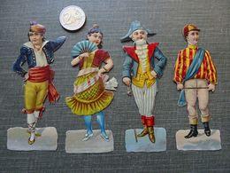 9 Découpis: 4 Personnages En Costume Et 5 Ménestrels - Unclassified