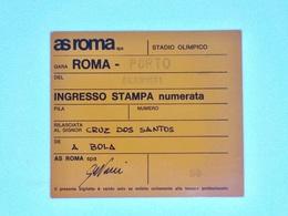 Cx13 BB 1) Football 4.11.1981 Coppa Coppe ROMA-PORTO (0-0) Press Card Press Ticket Stub A. S. ROMA 10X1,5cm - Zonder Classificatie
