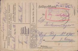 German Feldpost WW1: Returned MIA - Zurück Vermisst Original To Infanterie Regiment No. 179 From Fuss Artillerie - WW1