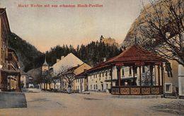 MARKT WERFEN AUSTRIA~mit Neu ERBAUTEM MUSIK PAVILLON~KAUFMANN KRALL 1911 TINTED PHOTO POSTCARD 48088 - Werfen