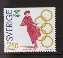 OLYMPIC GAMES ANTWERP 1920 FIGURE SKATING EISKUNSTLAUF SWEDISH GOLD MEDAL - SWEDEN 1991 MNH MI 1674 - Summer 1920: Antwerp