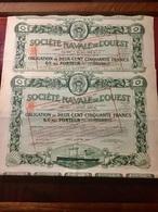 Sté  NAVALE  De  L' OUEST  ---------- Lot  De  2  Obligations  De  250 Frs  6% - Navigazione