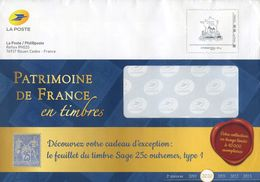 """FRANCE PAP Enveloppe Prêt à Poster  PHIL@POSTE  """"  PATRIMOINE DE FRANCE """"         Internationale 250 Gr - Pseudo-interi Di Produzione Ufficiale"""