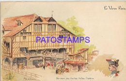 139747 FRANCE PARIS ART SIGNED OLD THEATER HALLS BUILDING POSTAL POSTCARD - Unclassified