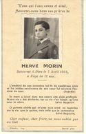 FAIRE PART DECES- HERVE MORIN DECEDE LE 7 AVRIL 1944 A 12 ANS - AVEC PHOTO - Avvisi Di Necrologio