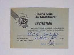 Cx13 BB 6) Football Ticket Stub Press Card RC STRASBOURG ALSACE - PORTUGAL 10.09.1985 10X14,5 Cm - Zonder Classificatie