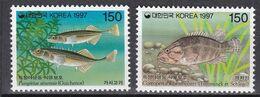Tr_ Korea Süd 1997 - Mi.Nr. 1925 - 1926 + Block 639 - 640 - Postfrisch MNH - Tiere Animals Fische Fishes - Poissons