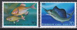 Tr_ Korea Süd 1985 - Mi.Nr. 1408 - 1409 - Postfrisch MNH - Tiere Animals Fische Fishes - Poissons