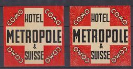 Suisse étiquette Hôtel Métropole. - Alte Papiere