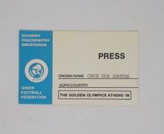 Cx13 BB 12) FOOTBALL Ticket Stub Press Card THE GOLDEN OLYMPICS ATHENS'96 Greek Football Federation 5,5x9cm - Zonder Classificatie