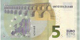 (Billets). 5 Euros 2013 Serie UB, U003F2 Signature 3 Mario Draghi N° UB 5058434468 UNC - EURO