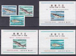 Tr_ Korea Süd 1966 - Mi.Nr. 534 - 536 + Block 229 - 231 - Postfrisch MNH - Tiere Animals Fische Fishes - Poissons