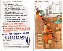 Billet 100 Francs Faux Front National FN Le Pen - Organizations