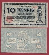 Allemagne 1 Notgeld De 10 Pfenning  Stadt Köln (SERIE -J-44) Dans L 'état   N °6074 - [ 3] 1918-1933 : Repubblica  Di Weimar