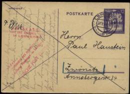 WW II GG Generalgouvernement Polen GS Postkarte: Gebraucht Lemberg Galizien - Zwönitz 1944 , Bedarfserhaltung. - Germany