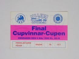 Cx13 BB 14) FOOTBALL Ticket Stub Press Card European Cup Winners Cup Final 1990 SAMPADORIA - ANDERLECHT (2-0) 7,5x11,5cm - Zonder Classificatie