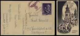 WW II GG Generalgouvernement Polen Postkarte Ostern: Gebraucht Warschau - Frankfurt Main L944, Bedarfserhaltung. - Briefe U. Dokumente