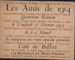 Carte Invitation Des Amis De 1914 Le 17 2 1933 Café Du Bullier Paris Paul Fort Jean Cocteau A Salmon Hommes De Qualité - Other