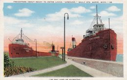 """SAULT STE. MARIE, Michigan, 1900-10s; Freighters About Ready To Enter Locks """"Upbound"""" - Etats-Unis"""