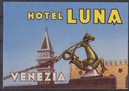 Venezia, étiquette Hôtel Luna, Italie. - Alte Papiere
