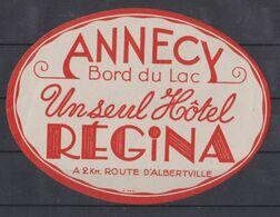Annecy, étiquette Hôtel Régina, France. - Alte Papiere