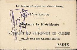 "Kriegsgefangenen Sendung Postkarte Censure Geprüft Altengrabow F.A. étoile David Juive ""g"" Prisonnier Guerre 14 Rignac - Cartas"