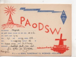 Cpa.Cartes QSL.PAODSW.1951.Holland.Wormer.to PAOKA - Radio Amateur