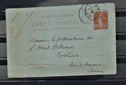 08 - 20 - France - Entier De Nice à Destination D' Evolene - Valais  - Suisse - - Overprinter Postcards (before 1995)