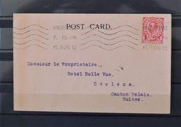 08 - 20 - GB - Post Card //  15 - 08 - 1915 à Destination D' Evolene - Valais  - Suisse - - Covers & Documents