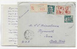 1945 - ENVELOPPE RECOMMANDEE De TOURS (INDRE ET LOIRE) => PLYMOUTH (IOWA - USA) - 1921-1960: Modern Tijdperk