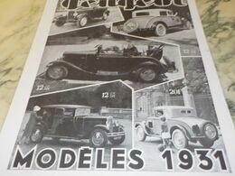 ANCIENNE PUBLICITE MODELE 1931 VOITURE PEUGEOT 1930 - Voitures