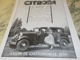 ANCIENNE PUBLICITE MODELE 1931 VOITURE CITROEN  1930 - Voitures
