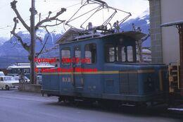 Reproduction D'unePhotographie D'une Petite Locomotive à Crémaillère BVB à Bex En Suisse En 1972 - Riproduzioni