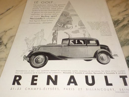 ANCIENNE PUBLICITE GOLF ET VOITURE  RENAULT  1930 - Voitures