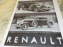 ANCIENNE PUBLICITE  GRAND LUXE VOITURE RENAULT   1930 - Voitures