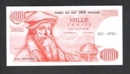 BANKBILJET 1000 F - JACO SPEELBANK - BANQUE DE JEUX - KIMEX BRUXELLES  - 14,5 Cm X 7,5 Cm  (BB 29) - [ 8] Fictifs & Specimens
