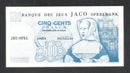 BANKBILJET 500 F - JACO SPEELBANK - BANQUE DE JEUX - KIMEX BRUXELLES  - 12,5 Cm X 6,5 Cm  (BB 26) - [ 8] Fictifs & Specimens