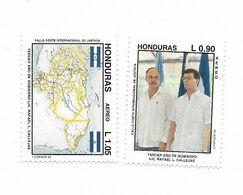 HONDURAS 1993 PRESIDENT CALLEJAS GOVERNMENT MAPS SET OF 2 VALUES MINT NH - Honduras