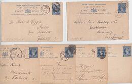 Ceylan Ceylon Postage Blue Five Cents Queen Victoria Postal Stationery Entier Lot De 6 Cartes Postales Colombo Kandy - Ceylan (...-1947)