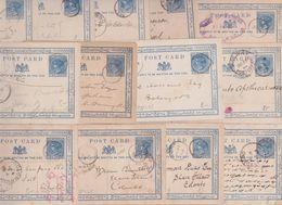 Ceylan Ceylon Blue Two Cents Queen Victoria Postal Stationery Entier Lot 13 Cartes Postales Kalpitiya Haputale Colombo - Ceylan (...-1947)
